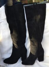 BNWT ZARA BLACK REAL SUEDE LEATHER LONG HIGH SQUARS HEEL BOOTS SIZE UK 8