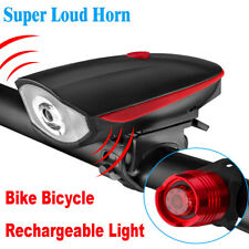 USB Rechargeable LED Bicycle Headlight Bike Head Light Cycling Horn + Front Lamp