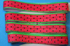 "5 yards  5/8"" Summer Watermelon  Red FOE Fold Over Elastic Ribbon Trim"