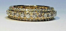 14K Yellow Gold, 3 Row  Natural Diamond 1.9 Ct Eternity Ring size 10