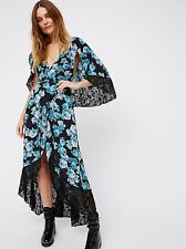Anthropologie Free People Midnight Garden Blue Floral Lace Cape Maxi Dress 0 New