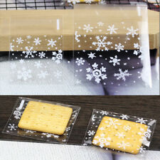 Snowflake Xmas Cello Cellophane Party Sweet Biscuit Gift Bags 7x7 10x10 14x14cm