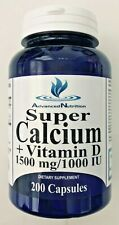 Super Calcium + Vitamin D 1500mg/1000 IU D3 Calcium Citrate Carbonate 200 Caps