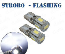 2 Bulbs w5w T10 White LED Night lights lights Positions STROBE FLASH Stroboscope