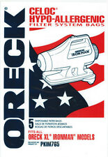 Oreck Iron Man Celoc Hypo- Allergenic Filter System Bags 5 Pk Part # PKIM765