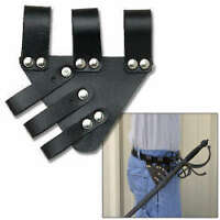 Black Leather FROG HANGER for Renaissance Rapier Sword
