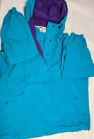 Vintage Columbia Windbreaker Pullover Jacket Womens Size Small 90s two tone blue