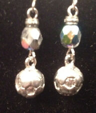 Soccer Ball with Iridescent Bead Pewter Earrings from Ann Peden Collection