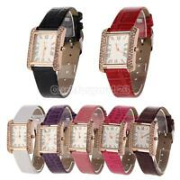 Lady Women Girl PU Leather Band Quartz Fashion Crystal Stone Square Wrist Watch