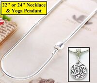 Women's 925 Sterling Silver Snake Chain Barrel Clasp Yoga Necklace D550B