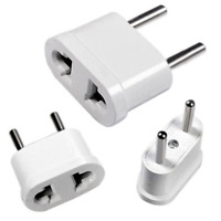 2X White Travel Charger Wall AC Power Plug Adapter Converter US USA to EU Europe