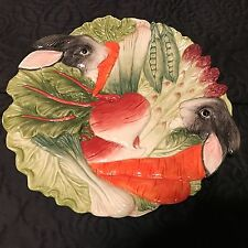 "Fitz & Floyd Kensington Rabbit Plate 10"" Vegetables Hang Holes carrot beet peas"