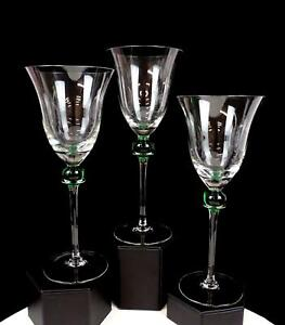 """CRATE & BARREL #CTB15 FLARED RIM GREEN BALL GOLD 3 PC 9 1/8"""" WATER GOBLETS"""