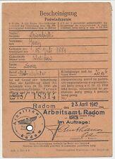 Generalgouvernement Bescheinigung Radom 1942. (223)
