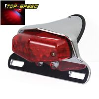 Lucas Style Motorcycle LED Tail Light For Triumph British Cafe Racer 12V Chrome