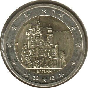 AL20012.2F - ALLEMAGNE - 2 euros commémo. Bavière Neuschwanstein - 2012 F