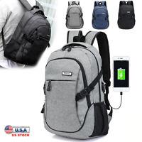 Men USB Charger Backpack Anti-theft Rucksack Laptop Notebook Bag Travel School