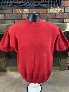Vintage Red Raglan Crewneck Short Sleeve Sweatshirt Mens Size Large Vtg Tultex