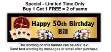 Birthday Party Banner Sign Poster, Casino, Cards, Roulette, Gaming Chips Theme.