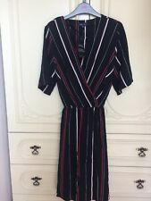 New Look Black Stripe Wrap Dress Size 8 New Tags Short Red White