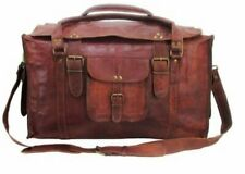 "24"" women Vintage Genuine Leather Flap Duffel Carry On Weekender Travel Bag"