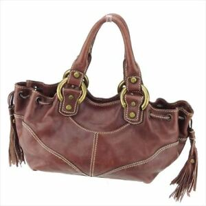 Francesco Biasia Hand bag Brown Gold leather Woman unisex Authentic Used D1942