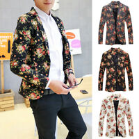Men's Casual Slim Fit Formal One Button Suit Floral Blazer Coat Jacket Tops