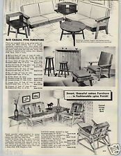 1962 PAPER AD Brill Casual Pine Furniture Kyoto Rattan Patio Style Mid Century