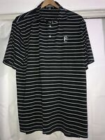Mens PETER MILLAR Black White Striped Summer Comfort Golf Polo Shirt Medium C45