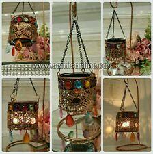 Moroccan Arabian Vintage Hanging Lantern Rustic Metal - Tealight Holder Rare New