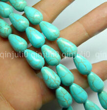 7x11mm Blue Turkey Turquoise Teardrop Gemstone Loose Beads 15'' JL494