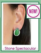 Paparazzi jewelry earring set post New (Green) stone spectacular