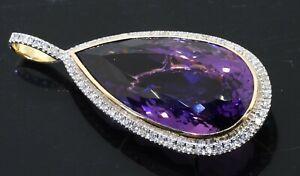 18K 2-tone gold beautiful 41.75CTW VS diamond/30 X 15.75mm Pear amethyst pendant