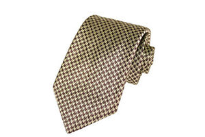 Italo Ferretti NWT Silk Necktie in Brown and Gold Houndstooth Design