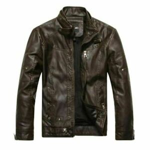 men's motorcycle leather jacket European style leather jacket stand collar plus