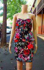 HONEY & BEAU ~ 8 ~ Black Tropical Floral Strapless Bustier Peplum Dress RRP $161