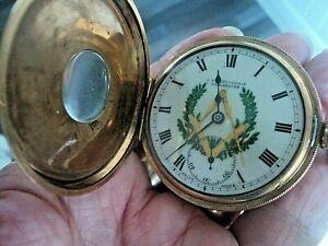 Vintage Masonic Swiss RECORD Gold Plated 1/2 Hunter Pocket Watch  -  Working