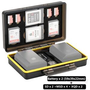 JJC 2 x Camera Battery+2 x SD +4 x Micro SD/TF+2 x XQD Cards Storage Case Holder