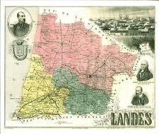 Réédition de gravure ancienne carte région département français Landes