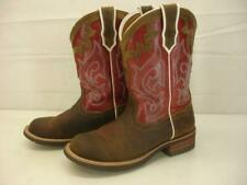 Women's 8 B M Ariat Unbridled Brown Red Leather Western Boots Embroidered Riding