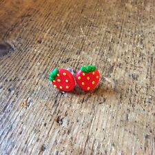 earrings Strawberrys Cute Summer Studs Handmade Nickel Free Red Fruit