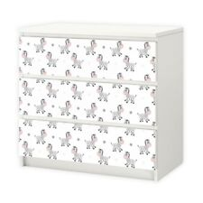 nikima - 016 Möbelfolie für IKEA MALM - Zebra - 3 Schubladen Aufkleber Sticker K