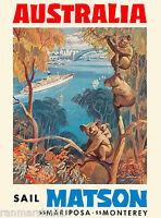 Australia Australian Sail Matson Ship Vintage Travel Advertisement Art Poster
