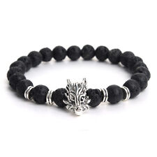 Men's Beaded Bracelet Handmade 8mm Bead Lava Stone Silver Head Dragon Bracelets