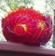 VTG Cut Crystal Glass Bowl Pinwheel Star Pattern Saw Tooth Edge Radiant Sunfire