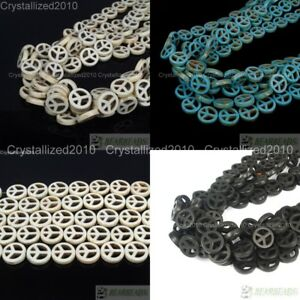 """White Blue Black Howlite Turquoise Carved 15mm Peace Sign Spacer Loose Beads 16"""""""