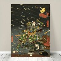 "Vintage Japanese SAMURAI Warrior Art CANVAS PRINT 36x24"" Kuniyoshi Battle #173"
