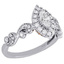 14K Two Tone Gold Marquise Solitaire Diamond Halo Swirl Engagement Ring 0.75 Ct.