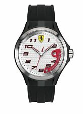 New Ferrari Men's Scuderia Lap Time White Dial Black Silicone Watch 0830013