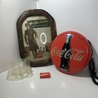 Coca Cola Lot Of 4pc Vintage Disc Phone, Napkin Holder, Coke Advertisment